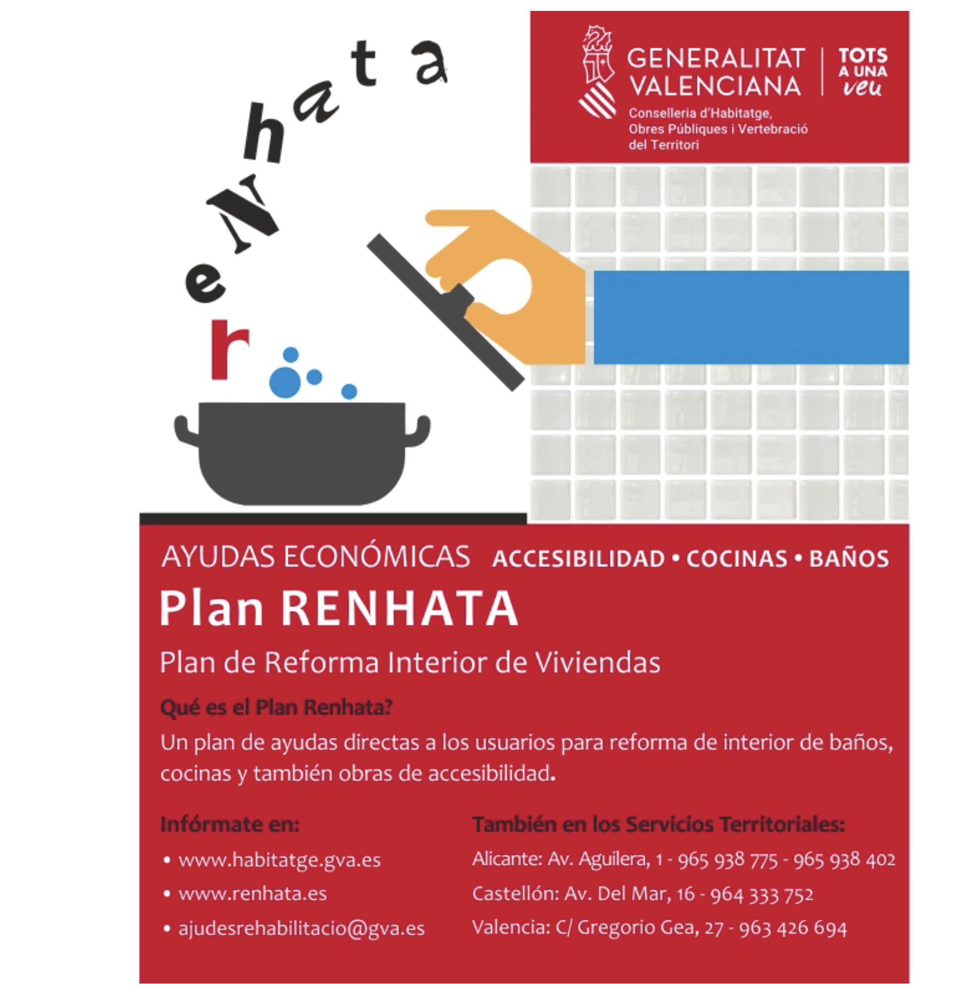 NUEVA CONVOCATORIA PLAN RENHATA DE LA GENERALITAT VALENCIANA